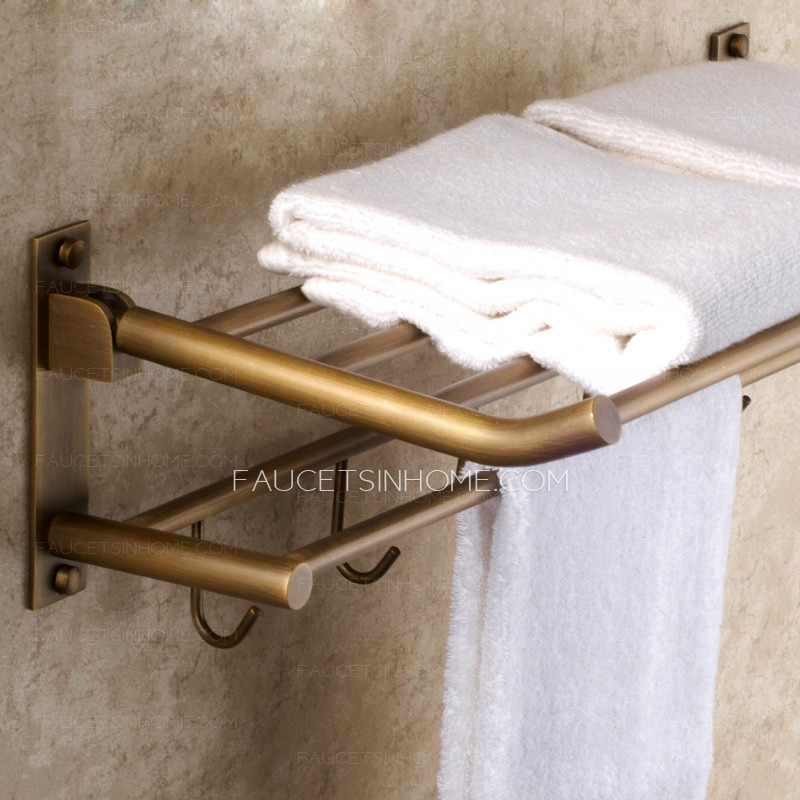 Foldable Antique Brass Wall Mounted Bathroom Shower Shelves With Robe Hooks