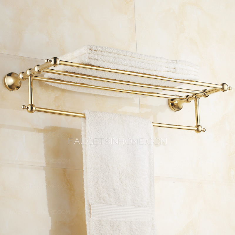 Brass Gold Metal Wall Mounted Bathroom Towel Shelves