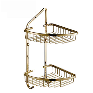 Bright Triangle Wall Mounted Wire Corner Shelves For Bathroom