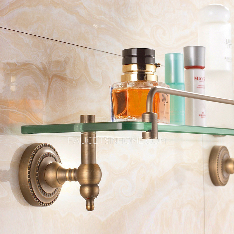 Antique Bronze Single Wall Mounted Glass Shelves For Bathroom