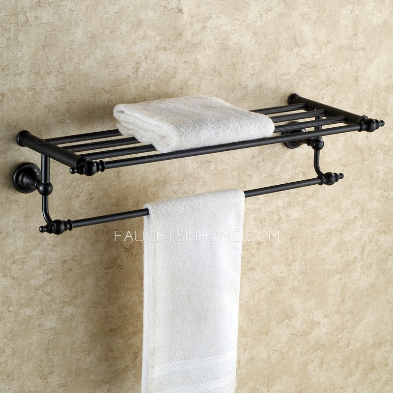 Hanging Black Oil Rubbed Bronze Towel Shelves For Bathroom
