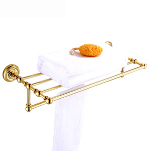 Luxury Carved Brass Bathroom Towel Shower Shelves