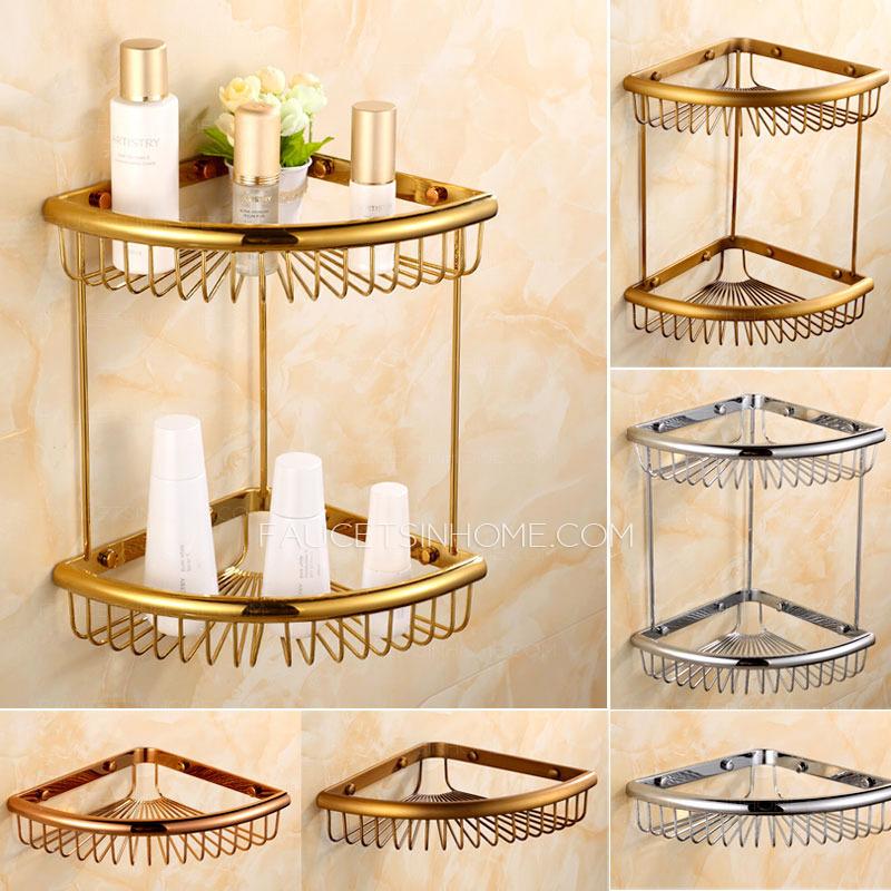Vintage Hanging Triangle Wire Double Corner Bathroom Shelves