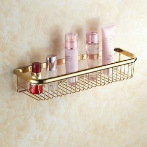 45cm Rectangle Wire Brass Single Metal Bathroom Hanging Shelves