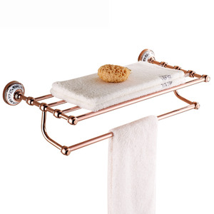 Double Rose Gold Metal Bathroom Shelves With Towel Bar