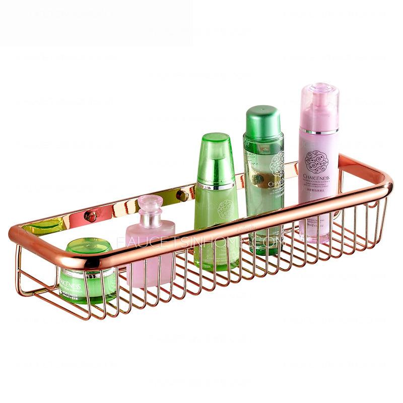 45cm Rose Gold Rectangle Wire Bathroom Hanging Shelves