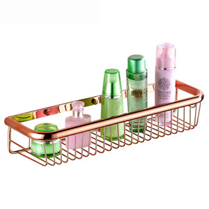 45cm rose gold rectangle wire bathroom hanging shelves