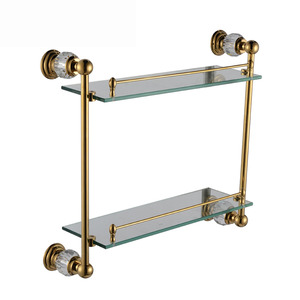Double Wall Mounted Glass Bathroom Wall Shelves