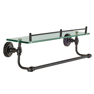 American Style Single Black Glass Bathroom Shelves With Towel Bar