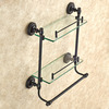 Double Black Oil Rubbed Bronze Hanging Bathroom Glass Shelves