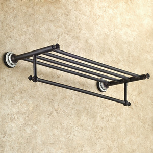 Black Oil Rubbed Bronze Bathroom Towel Shelves With Towel Bar