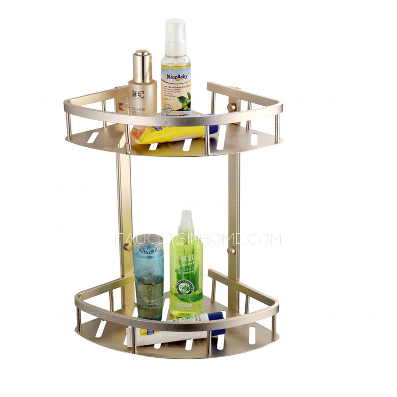 double triangle brushed nickel corner bathroom shelves