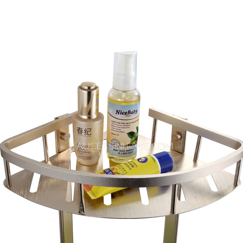 Brushed Nickel Bathroom Floor Shelf : Double triangle brushed nickel corner bathroom shelves