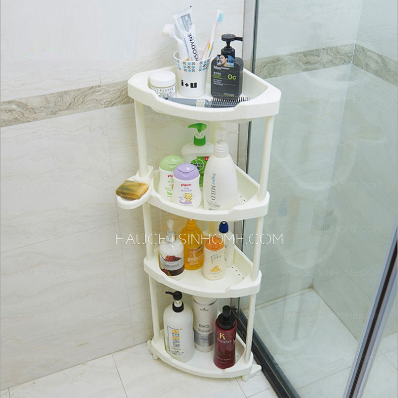 Four Layers White Plastic Corner Bathroom Free Standing