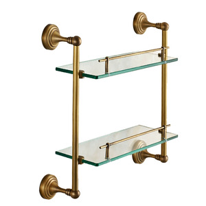 Antique Brass Double Hanging Glass Shelves For Bathroom