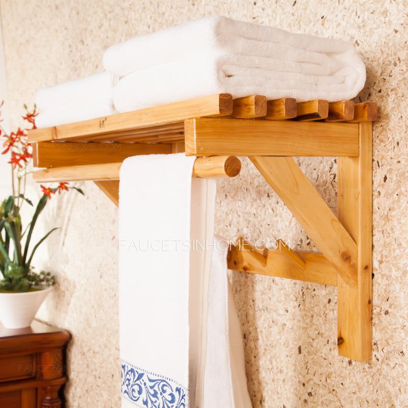50cm Double Wood Hanging Bathroom Towel Shelves