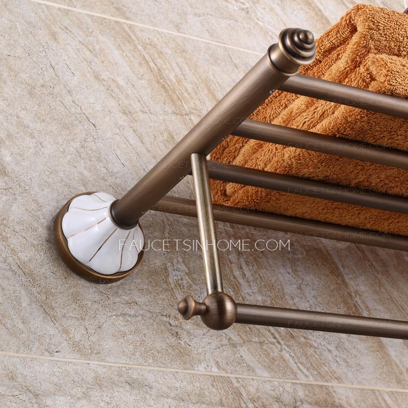 Brushed Nickel Bathroom Floor Shelf : Brushed nickel ceramic bathroom towel shelves wall mounted