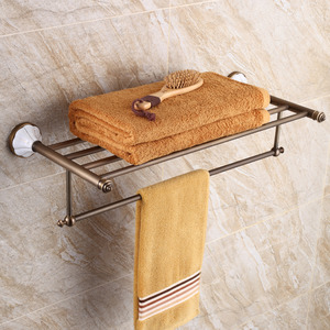Brushed Nickel Ceramic Bathroom Towel Shelves Wall Mounted
