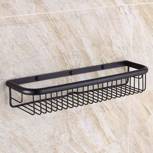 45cm Black Rectangle Wire Oil Rubbed Bronze Hanging Bathroom Shelves