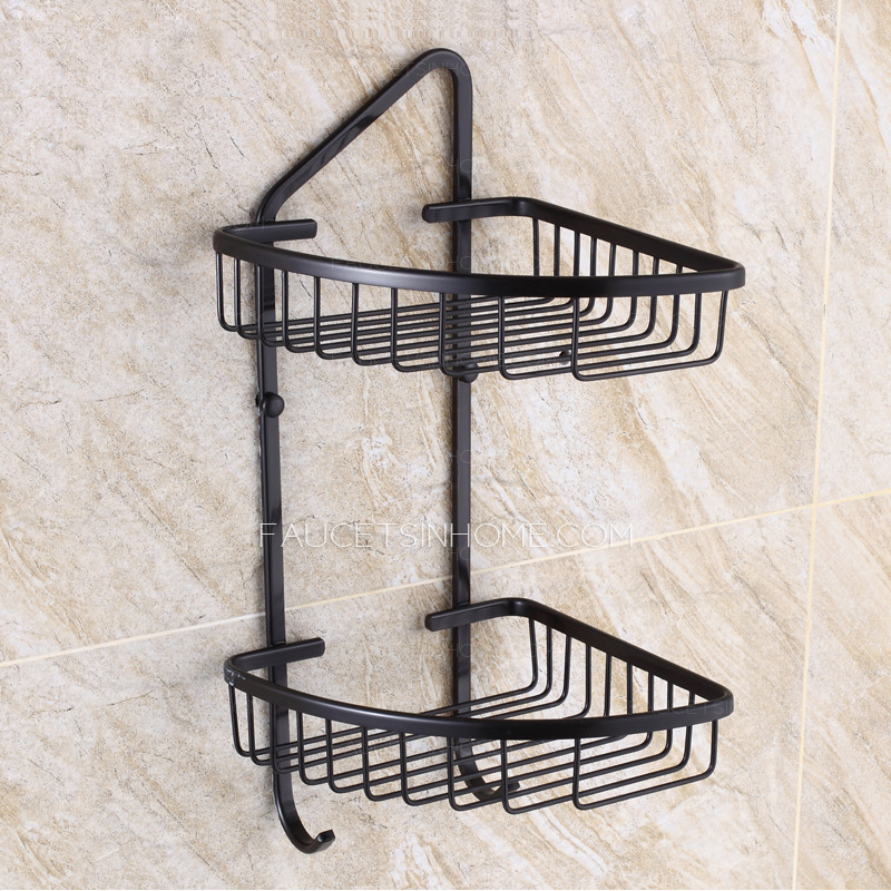 Double Triangle Wire Black Corner Shelves Bathroom Wall Mounted