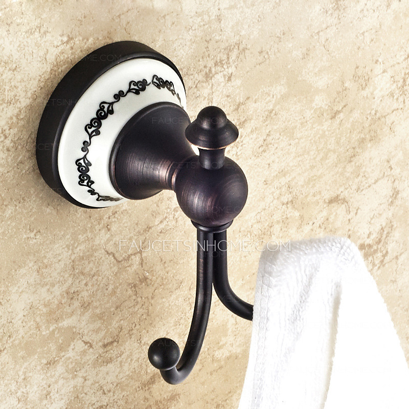 american style ceramic black robe hook double hook