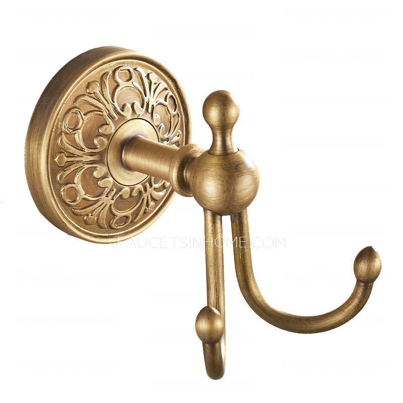 Decorative Antique Brass Bathroom Robe Hooks Double Hooks