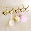 Swing Shaped 5-Hooks Polished Brass Bathroom Robe Hooks