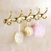 Swing Shaped 5-Hooks Polished Brass Bathroom Robe Hooks