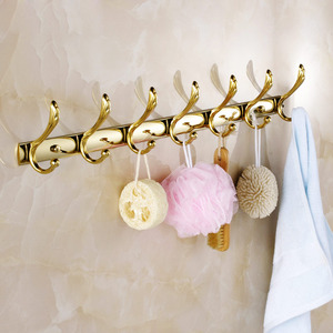 Swing Shaped 7-Hooks Polished Brass Bathroom Robe Hooks