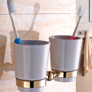 Polished Brass Porcelain Wall Mount Toothbrush Holder