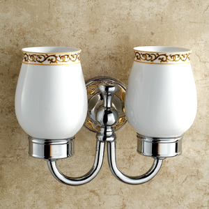 European Style Double Cup Ceramic Wall Mounted Toothbrush Holder