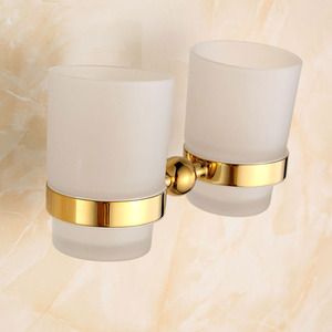 Double Cup Polished Brass Glass Wall Mount Toothbrush Holder