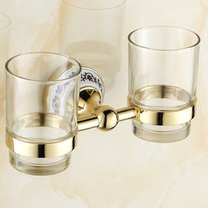 Glass Polished Brass Double Cup Wall Mounted Toothbrush Holder