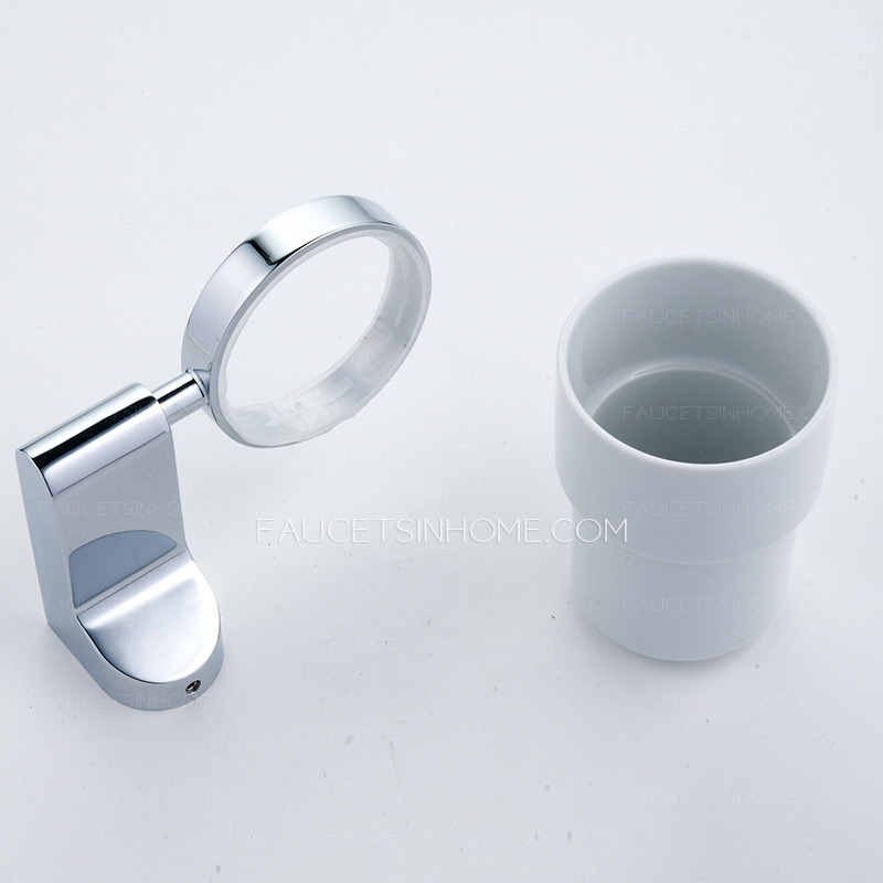 Simple Single Cup Chrome Porcelain Toothbrush Holder Wall Mount