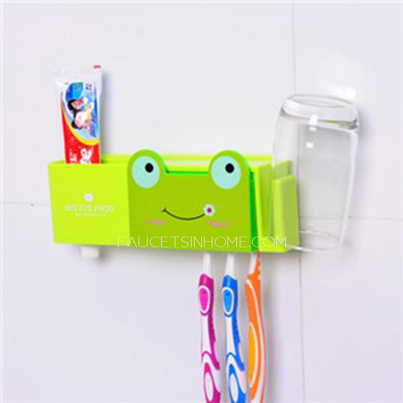 cute green frog kids suction cup toothbrush holder. Black Bedroom Furniture Sets. Home Design Ideas