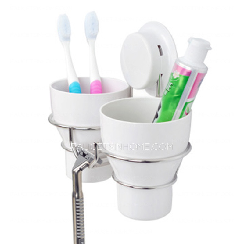 White Plastic Wall Toothbrush Holder Suction Double Cups