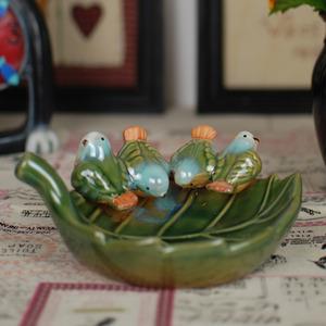 Decorative Handmade Ceramic Soap Dishes Leaf And Bird