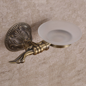 Antique Bronze Glass Bathroom Shower Soap Dishes