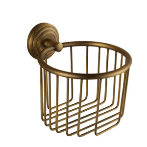 Antique Brass Wall Mount Wire Toilet Paper Basket Holder