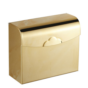 Square Shaped Golden Brass Bathroom Toilet Paper Holders