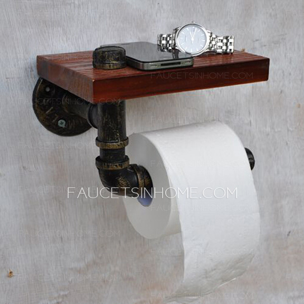 Unusual antique bronze wood wrought roll toilet paper holder Wood toilet paper holders