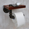 Unusual Antique Bronze Wood Wrought Roll Toilet Paper Holder