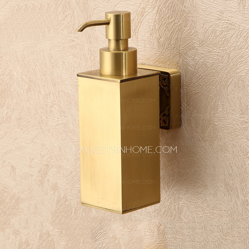 Bathroom Polished Brass Wall Mount Soap Dispensers