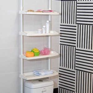 White Plastic Assemblable Bathroom Shelves Over Toilet