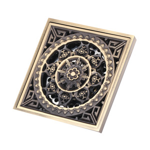 Decorative Square Shaped Floral Shower Bathroom Drains