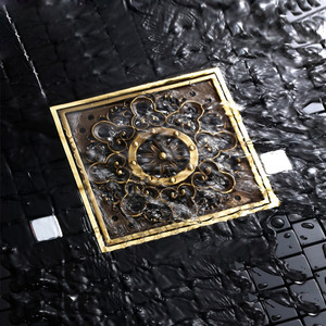 Decorative Square Shaped Antique Brass Shower Sink Drains