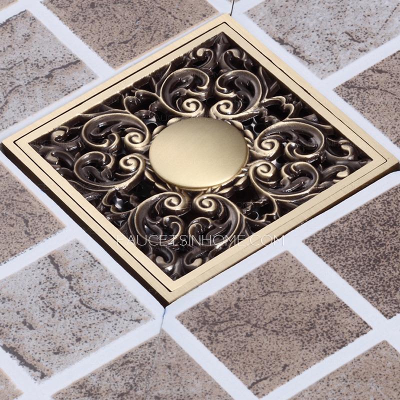 Antique Bronze Bathroom Floor Decorative Shower Drains