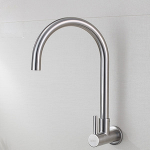 Designer Goose Neck Stainless Steel Kitchen Faucet Cold Water