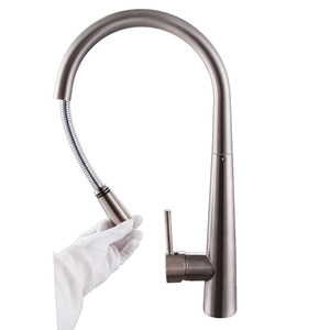 Commerical Brass Pullout Kitchen Faucet Wit Spray Nickel Brushed