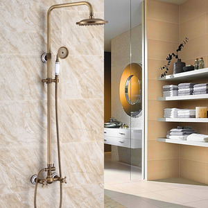 Antique Brass Ceramic Outside Wall Mount Shower Faucet System